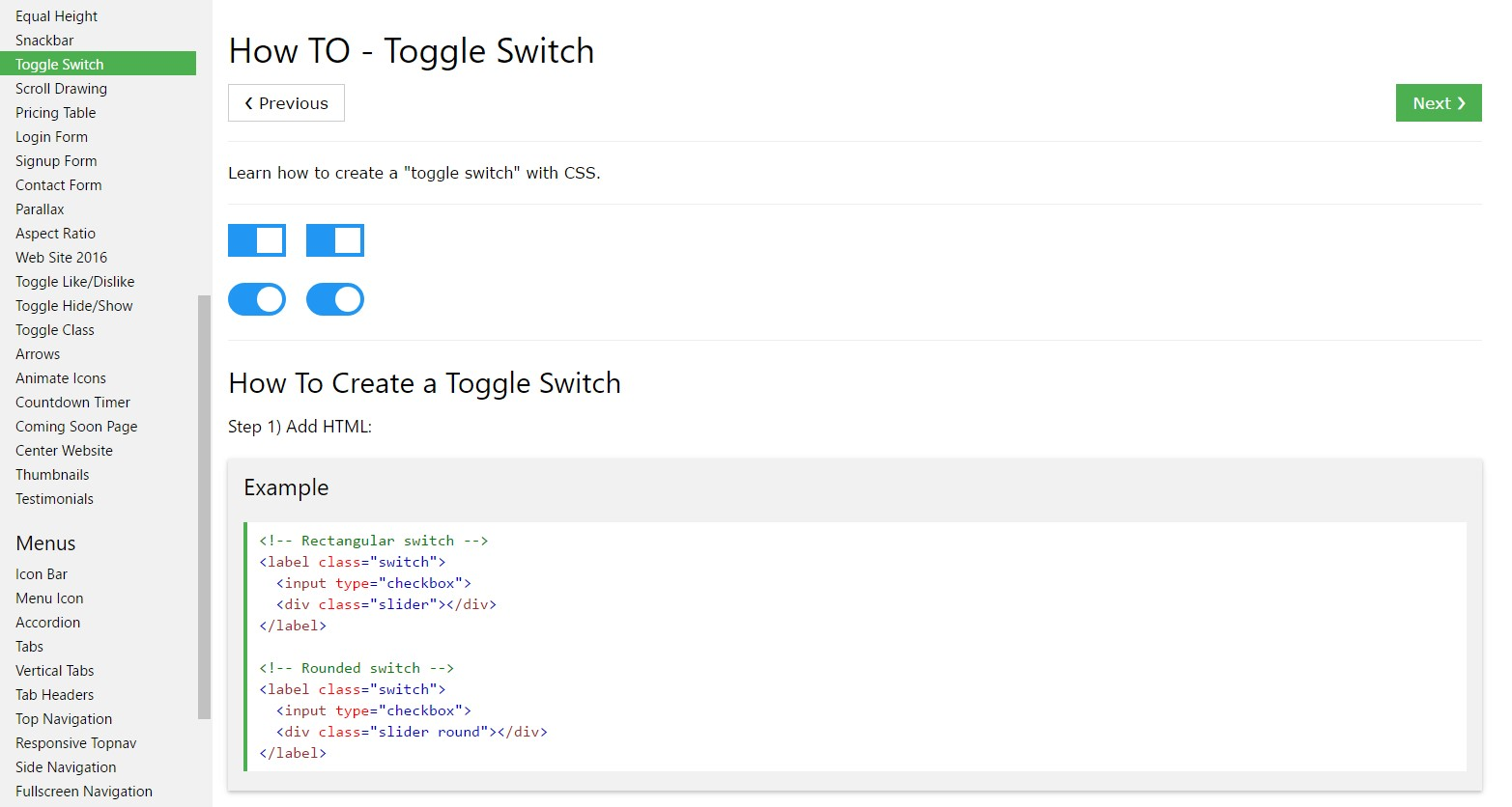 How to  establish Toggle Switch