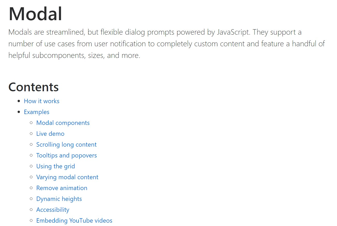 Bootstrap Modal Popup: official documentation