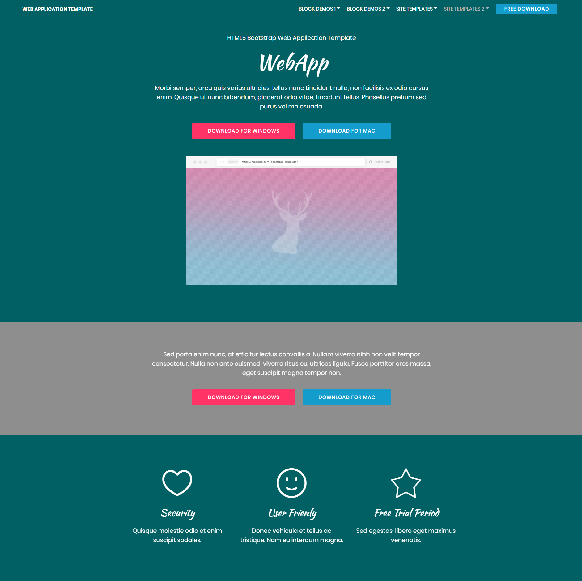 Free Bootstrap Web Application Themes